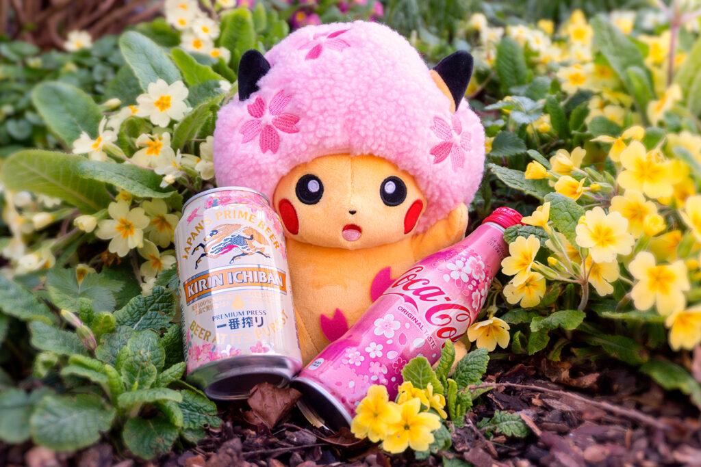 Exemple de produits Sakura dont une peluche Pikachu, spéciale Hanami